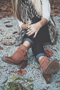 #street #style / faux fur + leather booties