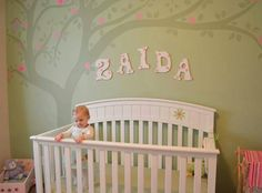 Pink & green nursery with tree mural… so precious! (this is my little cousin in law!)