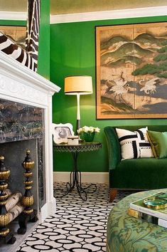 Have you ever thought of green living room ideas? Lime green living room, dark green and so many other shades to try with this perfect color. Green Velvet Sofa, Green Sofa, Green Ottoman, Round Ottoman, Living Room Green, Green Rooms, Green Walls, Living Rooms, Bedroom Green