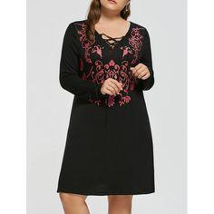 Plus Size Floral Lace Up Dress - Black 5xl Mobile