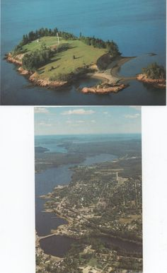 2 Unused Postcards of Calais, Maine, St. Croix Island, and aerial view of Calais, c1970s, good shape by VintageNEJunk on Etsy