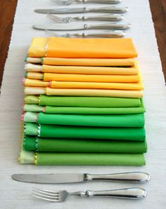 DIY rick rack napkins. Each of my kids has a 'color code' assigned. Thinking that having a make your own cloth napkin night and maybe even using fabric paint may be a useful activity. Knowing whose napkin belongs to who could be useful!
