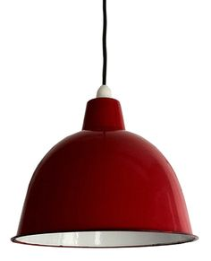 Cloche Enamel Lightshade In Red To Tie In With Red Bar Stools And Red And Red Bar Stoolslight Shadesred
