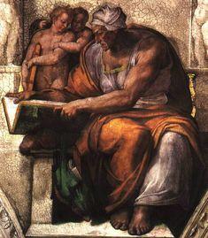 SIBILA DE CUMAS -  SYBIL OF CUMAE - PROFETISA - ou - ORÁCULO DE CUMAS  - FAMOSA POR CANTAR O DESTINO E ESCREVER EM FOLHAS DE CARVALHO - - -  Arte por Michelangelo (detalhe do Teto da Capela Sistina)