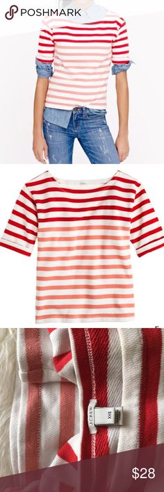 J.CREW lightweight terry tee in stripe In excellent condition! Red, white and pink stripes. Only worn a few times. Style 01223 which is sold out on j crew website. Retails for $65. 100% cotton. Offers welcome! J. Crew Tops
