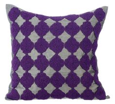 Curiosity - 16 x 16 Purple Bead Embroidered Grey Silk Pillow.