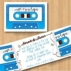 MarielaPapeletas: Invitaciones DIY - Cassette de Musica - Fiesta de los 80