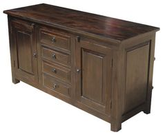 Shaker Rustic Wood Buffet 4 Drawer Storage Sideboard Cabinet - rustic - Buffets And Sideboards - San Francisco - Sierra Living Concepts