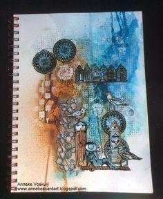 ANNEKESCARDART: At the beach 1 Art Journal Pages, Art Journals, Journal Ideas, Card Tags, Cards, Handmade Books, Mini Books, Art Sketchbook, Mixed Media Art