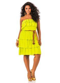 Tiered Smocked Waist Strapless Dress…