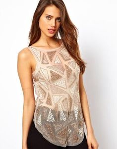 http://www.shopstyle.com: ASOS Tank with Geo Block Embellishment and Dipped Back