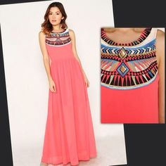 We  the gorgeous embroidered detailing on this sleeveless high neck maxi dress! $49, free shipping   [100% Polyester • Semi Lined • Fits true to size]  (at http://www.hazelandolive.com)