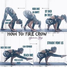 #JasmineYogaTutorial: #FireCrow A hybrid armbalance which I find easier to balance it than both of its parent poses. Here are some tips to help you get into the pose: 1) Warm up your hamstrings with standing forward folds for a good 3-5 minutes 2) A few r