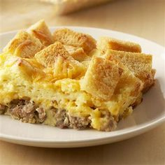 Country Breakfast Casserole ~ This tasty, golden brown casserole can be ready in less than one hour or you can make it the night before, chill and bake it in the morning. Choose lower fat cheese, milk and sausage for a lighter, yet still tasty version.
