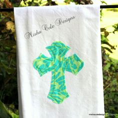 Cross Applique Tea Towel Blue and Green by mishacoledesigns, $13.00
