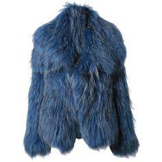 CO 'Chubby' Racoon Fur Coat (£1,875) ❤ liked on Polyvore featuring outerwear, coats, jackets, fur, coats & jackets, teal, fendi, blue fur coat, fendi coat and long coat