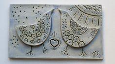 """Birds in Love"" ceramic wall art..."