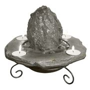 Lava Rock Tabletop Fountain with Candles