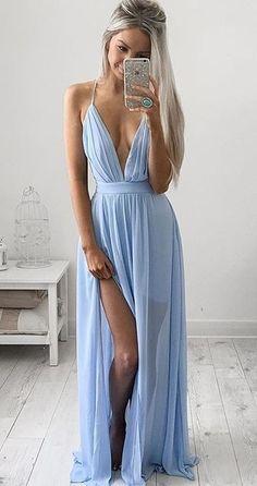 Unique A-line V neck blue chiffon long prom dress, evening dress, simple blue prom dresses for teens V Neck Prom Dresses, Cheap Prom Dresses, Evening Dresses, Prom Gowns, Dress Prom, Baby Blue Prom Dresses, Party Dress, Dress Wedding, Simple Prom Dress
