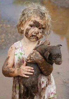 getting dirty to save puppy...so cute