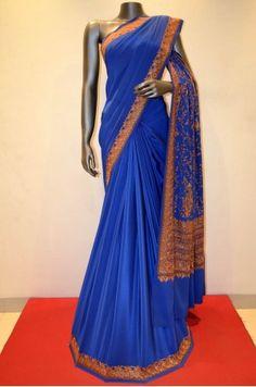 Kashmiri Aari Embroidery Pure Crepe Silk Product Code: SSJG00920