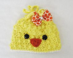 CROCHET PATTERN Spring Chick Beanie with BONUS Hairbow Tutorial (6 sizes included: newborn-adult) permission to sell finished items. $4.99, via Etsy.