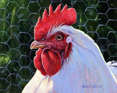 Hen and Rooster Painting | White Rooster Painting by Donna Crawshaw - White Rooster Fine Art ...