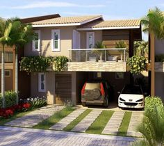 57 ideas exterior de casas sencillas for 2019 Modern House Facades, Modern House Design, Modern Architecture, Modern Houses, Dream House Plans, My Dream Home, Style At Home, Duplex House, Facade House