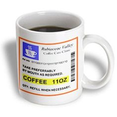 InspirationzStore Funny Coffee Prescription coffee mug - humorous prescribed caffeine. joke medicine cup - they also have these for hot chocolate and tea :)