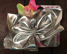 Jojo Siwa Claires Exclusive Big Hair Bow Silver Metallic Rhinestone Dance NEW | eBay