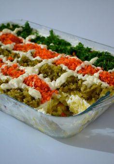 Etimek-Salat (Aubergine, Zucchini, Karotte), in 2020 Salad Menu, Salad Dishes, Cottage Cheese Salad, Zucchini Aubergine, Turkish Recipes, Ethnic Recipes, Beef Salad, Meat Appetizers, Turkish Salad