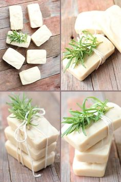 Homemade Rosemary-Mint Goat Milk Soap. It was interesting to see that this brown, canned goat milk stayed the   same color of brown after mixing the lye into it, and resulted in a   creamy, caramel colored bar of soap