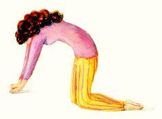 La tigre. Carponi, ginocchia e palmo delle mani a terra, espirando, incurvare la schiena partendo dal bacino, vertebra dopo vertebra, fino al capo, che si abbandona verso il basso. Inspirando si inarca la schiena partendo dal bacino fino al capo, che si alza. Il movimento si esegue lentamente, come una tigre che si stira. Ripetere l'esercizio 10 volte. La posizione della tigre mantiene elastica la colonna, previene il mal di schiena e migliora la respirazione.