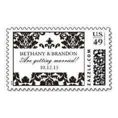 Classic Damask Wedding Postage Stamps. This great business card design is available for customization. All text style, colors, sizes can be modified to fit your needs. Just click the image to learn more!