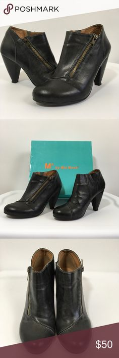 Dark charcoal ankle boots Gorgeous like new booties with side zip. M2 by Miz Mooz. Like new condition!  Color is a dark gray almost black Miz Mooz Shoes Ankle Boots & Booties