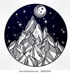 Hand drawn mountain and the starry night sky. Tribal template in boho style.  Isolated Vector illustration. Invitation element. Tattoo, travel, adventure, meditation symbol. The great outdoors.