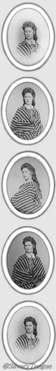1870 ca. Empress Elisabeth of Austria wearing striped shawl. Photographer: Ludwig Angerer [15.08.1827 – † 12.05.1879] _Set photos composed by Carl Pietzner 1897.
