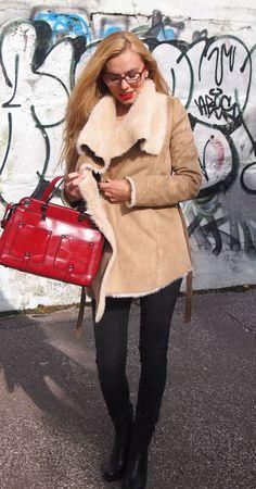 Berushka beige winter coat, winter women fasion, winter outfits, red handbag,red eyeglasses, long blond hair