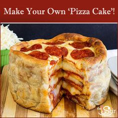 pillsbury recipe for pizza cake. A stacked pizza! In a cake pan! Take family night to new heights with this fun new way to make homemade pizza. Pizza Legal, Can Pizza, Good Pizza, Pizza Pizza, Pizza Dough, Pizza Lasagna, Pizza Food, Crust Pizza, Gastronomia