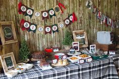 Amazing table at a lumberjack birthday party! See more party ideas at CatchMyParty.com!