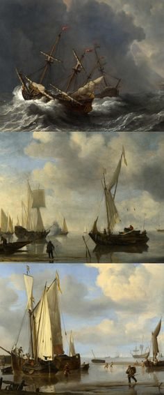 Willem Van De Velde - Three Ships in a G...