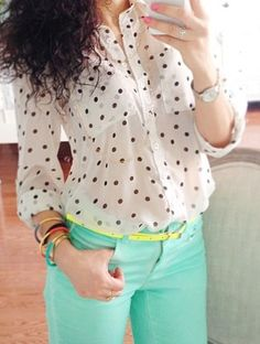 Mint jeans & polka dot top with neon accessories