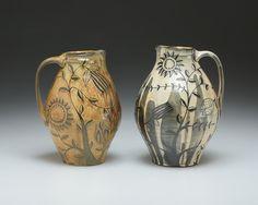 Matthew Metz, Two Pitchers, porcelain thrown, salt glazed. Ceramic Pitcher, Glass Ceramic, Ceramic Art, Pottery Plates, Ceramic Pottery, Pottery Art, Clay Tools, Ceramic Techniques, Sgraffito