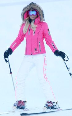 Paris Hilton in PINK on the Colorado slopes! #ski # Helmethuggers #fashion. She could really look chic with our Forget-Me-Not Helmet Hugger with pink leopard or grey wolf  faux fur http://helmethuggers.com/shop/forget-me-not/