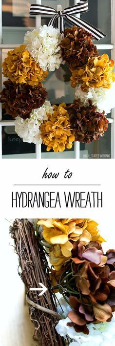35 Fall Wreaths for Your Door - Hydrangea Wreath For Fall- Fall Wreaths For…