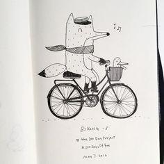 Drawing Doodles Sketchbooks Riding a bicycle! Love Drawings, Easy Drawings, Fox Man, Doodle Cartoon, Art Sketchbook, Moleskine, Watercolor Illustration, Art For Kids, Doodles