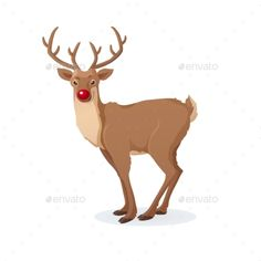 Cartoon Christmas illustration. Funny Rudolph red nose reindeer isolated on white. Vector. Great for Christmas and New Year posters, banners, gift tags and labels.