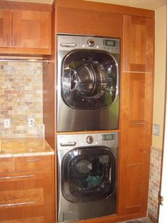 Space saving idea. Love the closet rod right next to the dryer.
