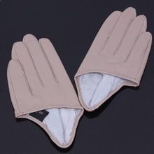 Реальные кожаные перчатки для женщин половина укороченные перчатки горячие подлинной овчины пять пальцев перчатки бесплатная доставка(China (Mainland))