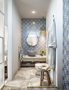 I like the tiles (tho different ones) and stone combo for bathroom - Tropical Villa In Thailand Based On An Ancient System Of Architecture Wooden Accent Wall, Bathroom Design Luxury, Villa Design, Staircase Design, Poufs, New Homes, Architecture, Furniture, Home Decor